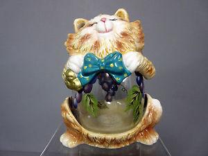 【送料無料】猫 ネコ キャット 置物  cat purple grapes tealight candle holder container cats grape tea lights