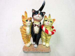 【送料無料】猫 ネコ キャット 置物 ビーチ 3 cats in thongs on a beach cat figurine 60481h