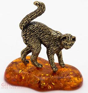 【送料無料】猫 ネコ キャット 置物 オレンジsolid brass amber figurine of elegant cat ironwork