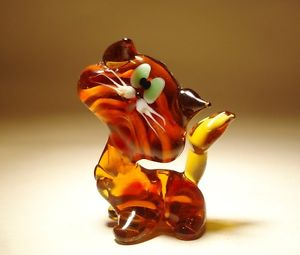 【送料無料】猫 ネコ キャット 置物 ガラス#;ムラーノ#ブラウンオレンジストライプblown glass 034;murano034; art figurine animal brown and orange striped cat