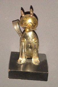 【送料無料】猫 ネコ キャット 置物 ビンテージスターリングシルバースプーンアート#ベースvintage stirling silver spoon art cat figure 55034; figurine on wood base 1971
