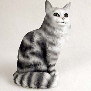 【送料無料】猫 ネコ キャット 置物 メインクーンmaine coon silver cat figurine statue hand painted resin gift