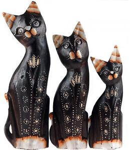 【送料無料】猫 ネコ キャット 置物 330cmセット set of 3 wooden cat 30cm ornaments dark wood