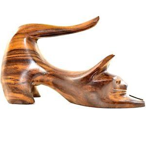 【送料無料】猫 ネコ キャット 置物 フォークアート#ストレッチhand carved ironwood wood folk art stretching cat kitten 5034; figure figurine