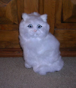 【送料無料】猫 ネコ キャット 置物 リアルrealistic lifelike cat sitting synthetic fur furry animal c312w