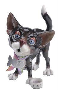 【送料無料】猫 ネコ キャット 置物 ココアボウルアローラタグlittle paws cocoa cat with bowl figurine arora uk fish tag nib