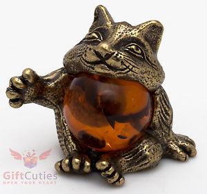 【送料無料】猫 ネコ キャット 置物 アライグマironworksolid brass amber figurine of cat raccoon ironwork