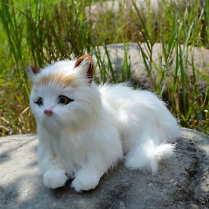 【送料無料】猫 ネコ キャット 置物 ウサギペットネコlifelike lying cat rabbit fur figurine realistic furry animal pet kitten prop