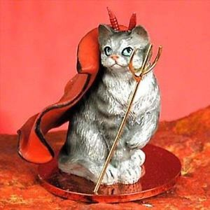 【送料無料】猫 ネコ キャット 置物 catオンsilver grey tabby devil cat tiny one figurine statue