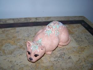 【送料無料】猫 ネコ キャット 置物 ##handpainted clay floral design cat figurine signed 034;sunday034;