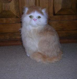 【送料無料】猫 ネコ キャット 置物 ウサギrealistic lifelike cat sitting rabbit fur furry animal c312tb