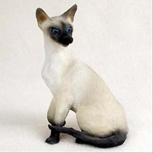 【送料無料】猫 ネコ キャット 置物 シャムイヌsiamese cat sitting hand painted canine collectable figurine statue