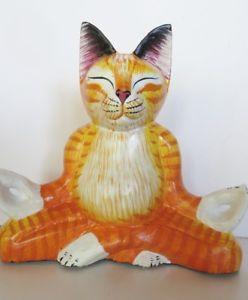 【送料無料】猫 ネコ キャット 置物 #ヨガ8034; cat tabby wood figurine meditating yoga lotus position handmade, signed
