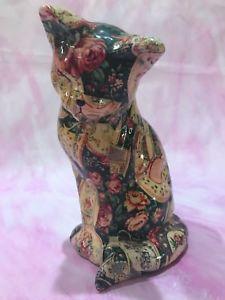 【送料無料】猫 ネコ キャット 置物 ビンテージdecopauge vintage cat statue floral print
