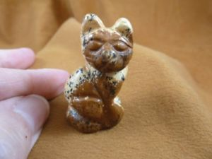 【送料無料】猫 ネコ キャット 置物 ジャスパーycatsic587 tan jasper sitting cat gem kitten stone carving figurine cats