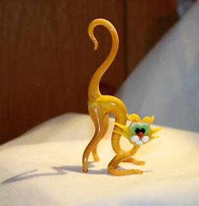 【送料無料】猫 ネコ キャット 置物 アートガラスムラノガラスガラスart blown glass murano figurine glass yellow cat figurine
