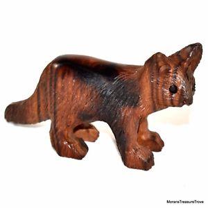 【送料無料】猫 ネコ キャット 置物 フォークアートhand carved ironwood wood folk art detailed cat kitten figurine