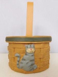 【送料無料】猫 ネコ キャット 置物 バスケットグレー##バケット