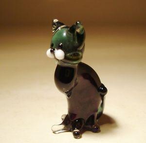 【送料無料】猫 ネコ キャット 置物 ガラス#;ムラーノダークグレーネコblown glass figurine 034;murano034; animal small dark grey kitten cat sitting