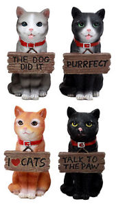 【送料無料】猫 ネコ キャット 置物 セット#ネコネコタグfunny saying cats figurine set 4034;h feline cats and kittens wearing tag signs