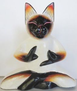 【送料無料】猫 ネコ キャット 置物 #シャムヨガ8034; cat siamese wood figurine meditating yoga lotus position handmade, signed