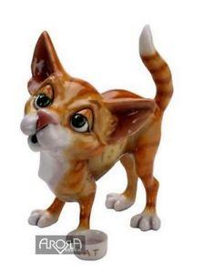 【送料無料】猫 ネコ キャット 置物 リサボウルアローラタグlittle paws lisa cat with bowl figurine arora uk metal fish tag nib