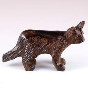 【送料無料】猫 ネコ キャット 置物 #hand carved wood wooden ironwood cat figurine 45034; long