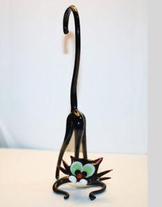 【送料無料】猫 ネコ キャット 置物 アートガラスムラノガラスガラスブラック#