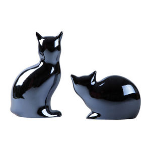 【送料無料】猫 ネコ キャット 置物 ネコset of 2 ceramic sitting cat statues animal figurine kitten indoor home decor