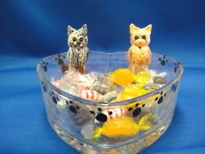 【送料無料】猫 ネコ キャット 置物 キャンディhandmade clay cat candy, trinket, treat dish