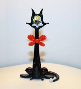 【送料無料】猫 ネコ キャット 置物 アートガラスムラノガラスart blown glass murano figurine glass cat with a red bow