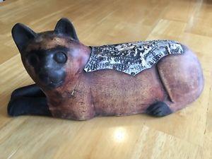 【送料無料】猫 ネコ キャット 置物 アフリカガーナafrican wood cat sculpture handcrafted figurine handmade ghana