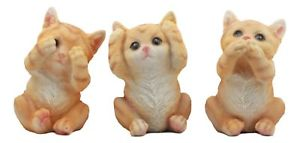 【送料無料】猫 ネコ キャット 置物 three wise kittens see hear speak no evil tabby cats statue set animal decor