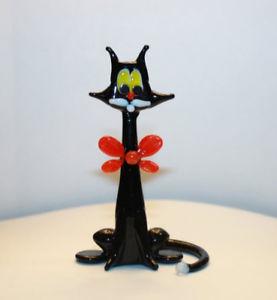 【送料無料】猫 ネコ キャット 置物 アートガラスムラノガラス#ガラスart blown glass murano figurine glass cat with a red bow 1