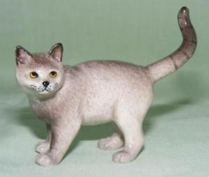 【送料無料】猫 ネコ キャット 置物 ミニチュアklima miniature porcelain animal figure chartreux cat standing l765
