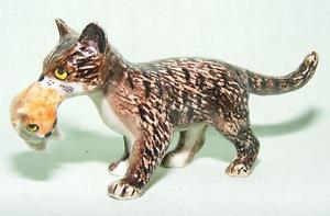 【送料無料】猫 ネコ キャット 置物 ミニチュアklima miniature porcelain animal figure cat with kitten standing e317