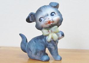 【送料無料】猫 ネコ キャット 置物 ビンテージグレーvintage lefton grey dog ceramic figurine 1563