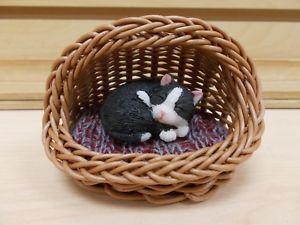 【送料無料】猫 ネコ キャット 置物 バスケットベッドネコタキシードg18123 kitten tux sleeping in basket bed figurine statue gsc