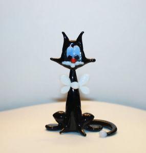【送料無料】猫 ネコ キャット 置物 アートガラスムラノガラス#ガラスart blown glass murano figurine glass cat with a white bow 1