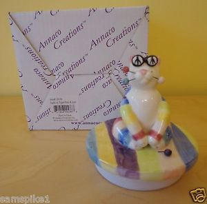 【送料無料】猫 ネコ キャット 置物 エイミーラコンブキャンドルトッパー#アンプ whimsiclay cat by amy lacombe 2002 candle jar topper 20106 peace amp; love cat