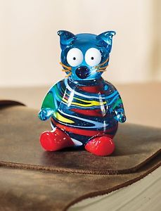 【送料無料】猫 ネコ キャット 置物 アートガラスミニチュアガラスart glass figurine miniature blown glass cat figure