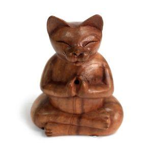 【送料無料】猫 ネコ キャット 置物 ヨガディスク17cm wooden yoga cat carved incense burner 10 cm wooden disc ideal gift