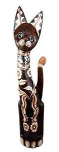 【送料無料】猫 ネコ キャット 置物 ハンドメイド#スルタン#ネコbalikraft hand made wood sculpture 034;kucing sultan034; large floral feline cat