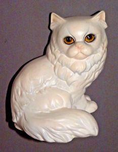 【送料無料】猫 ネコ キャット 置物 #ペルシャゲーベルドイツ6034; white persian cat w yellow eyes porcelain figure goebel w germany