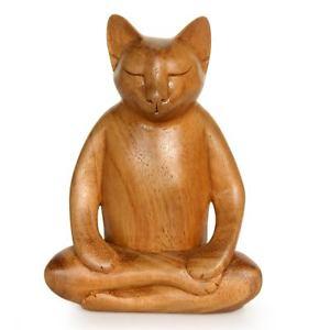 【送料無料】猫 ネコ キャット 置物 #ショウガヨガ#アートノビカバリsigned cat sculpture 039;ginger cat does yoga039; hand carved wood art novica bali