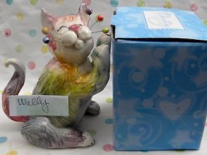 【送料無料】猫 ネコ キャット 置物 #ブックエンド??034;wally034; fluffy rainbow whimsiclay cat sculpture, could be bookend