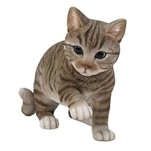 【送料無料】猫 ネコ キャット 置物 ガラス#playful grey tabby cat kitten figurine w glass eyes 1375034;long hand paint resin