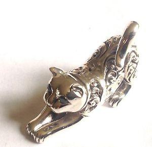 【送料無料】猫 ネコ キャット 置物 スターリングrepousseヨガsterling silver repousse ornate stretch yoga cat miniature collectables figure