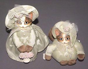 【送料無料】猫 ネコ キャット 置物 ビンテージネコビクトリアドレスvintage mother amp; child cats in green victorian dress cat figures porcelain