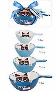 【送料無料】猫 ネコ キャット 置物 grumpycat1カップc12c13c14c usable and adorablegrumpy cat ceramic measuring cups 1c, 12c, 13c, 14c usable and adorable